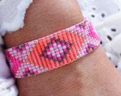 Neon Ethnic Bracelet - Bohemian Bracelet - Bead Loom Bracelet - Boho Chic Bracelet - Statement Bracelet - Evil Eye Bracelet