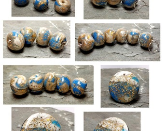 Round, Polymer Clay Beads, Pendant Set, Blue Gold Glimmer Pearl Gold Silver Foil, Artisan Handcrafted, 19 Piece Lot