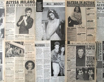 ALYSSA MILANO ~ Who's The Boss, Charmed, Melrose Place, Mistresses, Sam Micelli ~ B&W Articles from 1988-1990 - Batch 3
