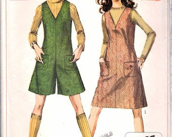 "Vintage 1968 Simplicity 7821 Jiffy Jumper & Mini Pant-Jumper Sewing Pattern Size 14 Bust 36"" UNCUT"