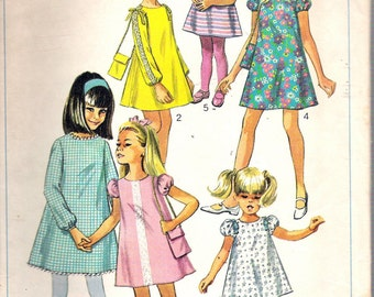 Vintage 1967 Simplicity 7454 Girl's Dress & Bag Sewing Pattern Size 8 Breast 27""