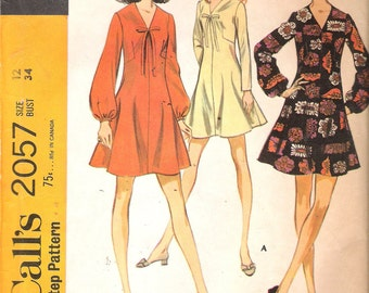 Vintage 1969 McCall's 2057 Misses' Dress in Three Versions Sewing Pattern Size 12 Bust 34""