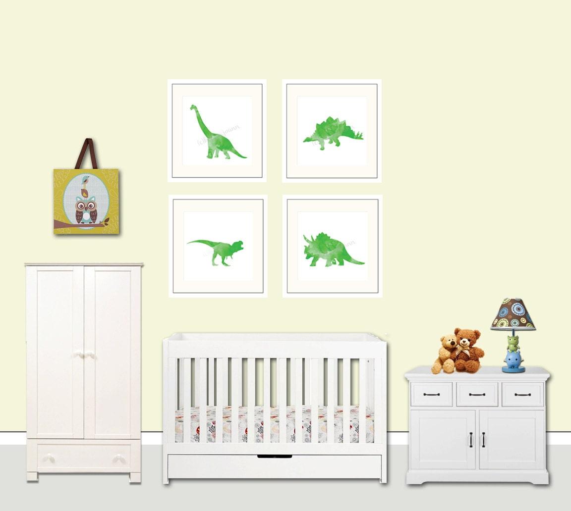 Dinosaur nursery decor green watercolor dinosaur art baby