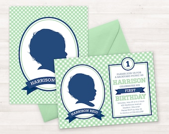 Birthday Invitation Kids, Custom Silhouette Invite PLUS Poster, Boy First Birthday Invitation, Picnic Invitation, Gingham Invitation Green