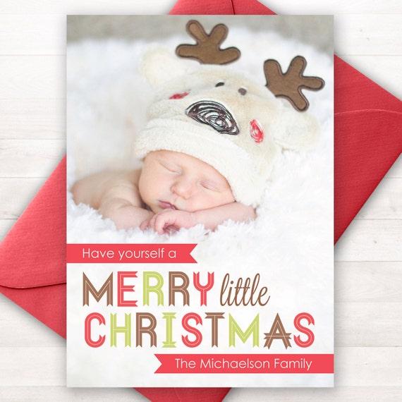Custom photo christmas card merry little christmas any colors il570xn solutioingenieria Gallery