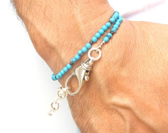 handmade wrap blue turquoise sterling silver bracelet large silver clasp link chain