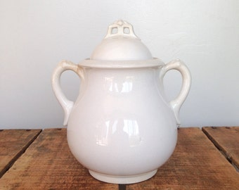 White Ironstone Sugar Bowl, 1800s Sugar Jar, Antique Ironstone Sugar with Lid, William Brunt Jr & Co., English Ironstone