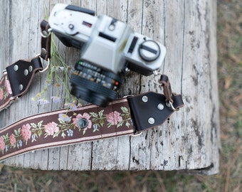 Hemp Camera Strap - Brown Western Style Roses Ribbon on Organic Hemp Webbing and Leather Ends - works with DSLR, SLR and Manual Cameras