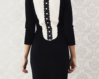 "Magnificent dress ""New Classic  in classic black and white, decorated with lace"