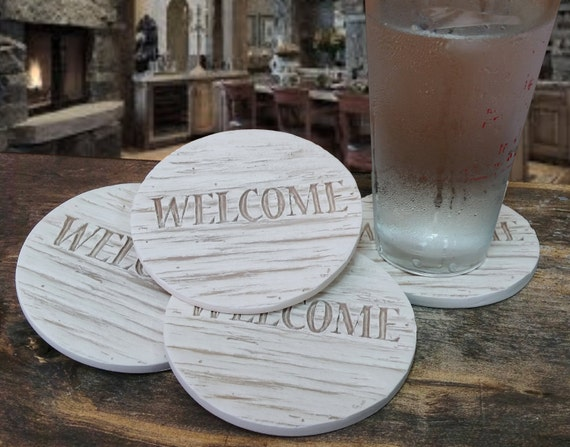 Welcome wood drink coasters absorbent coasters by shaynemccarter - Drink coasters absorbent ...