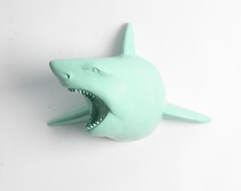 White Faux Taxidermy - The Lewie in Seafoam Green - Seafoam Resin Shark Head- Shark Resin White Faux Taxidermy- Chic & Trendy Fish Mount