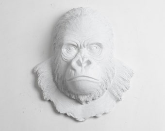 White Faux Taxidermy Gorilla Head - The Mambo in White - Silverback Ape Head - White Primate Mounted- Resin Animal Wall Art Ornament