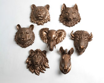 Faux Taxidermy - Create Your Own Zoo - Pick Any Three (3) Bronze Miniature Faux Taxidermy Pieces From the Picture to Create Your Own Zoo