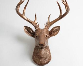 Faux Taxidermy - Faux Deer - The XL Bennett- Bronze Resin Deer Head- Stag Resin Bronze Faux Taxidermy - Modern Home Decor