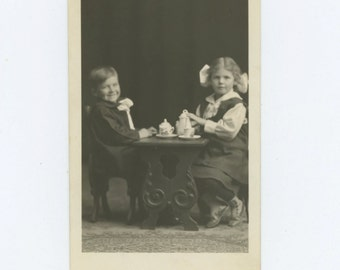 Children's Tea Party, c 1910s : Vintage Portrait Photo RPPC (67483)