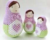 Crochet Amigurumi doll pattern, Mothers day Matryoshka pattern, girls room decor, nesting dolls instructions. Matryoshka doll, Babushka doll