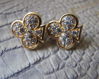 SWAROVSKI Swan Logo Signed Gold Plated Crystal Clip Earrings.Small Designer Clip Earrings. Clear Crystal Clip Earrings. 3 Leaf Clover Clubs