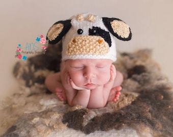 Mooey Newborn Cow Hat Photo Prop, MADE TO ORDER