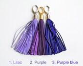 Leather Tassel, Purple long tassel, Large tassel keychain