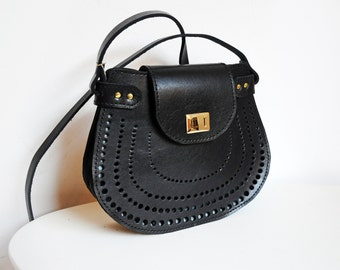 Leather crossdoby bag, Black Cross body purse, Shoulder bag