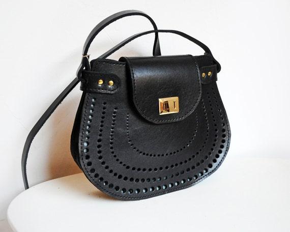 Leather crossdoby bag, Black Cross body purse, Shoulder bag