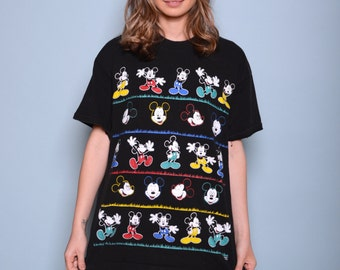 Vintage Colorful Mickey Mouse Tee Sz L