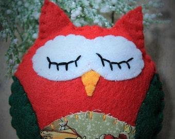 Felt owl Ornament-Christmas owl-Santa claus-Handmade Christmas ornament-Felt owl-Bird-gift-owl decor