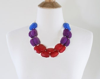 SALE! Jewel Tone Statement Necklace, Red Blue and Purple Beaded Necklace, Ombre Bib Necklace