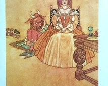 1921 W HEATH ROBINSON BEAUTY and the Beast Print Ideal for Framing