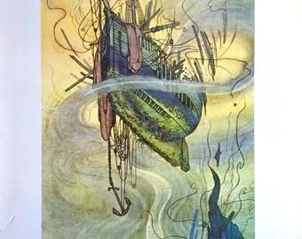1909 W Heath ROBINSON GALLEON SHIPWRECK Print Ideal for Framing