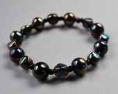 Iridescent Black Beaded Stretch Bracelet Large Size Elastic Glass Beads Stacking Fashion Jewelry Jewellery Paisley Beading FREE Shipping