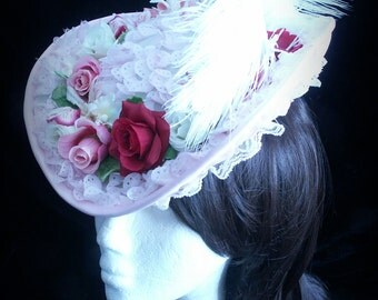 Rococo or  victorian hat in pink with fabric flowers and lace decorationaccents. Top hat. Mini top hat. Steampunk. Victorian. Bridal. Lolita