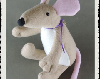 Mouse Softie E-PATTERN, Downloadable PDF, e- Pattern and instructions for fleece mouse