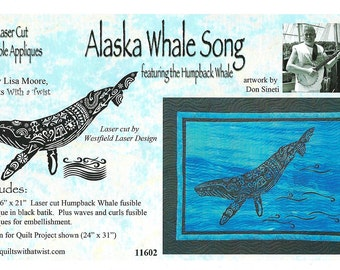 Alaska Whale Song Laser Cut Fusible Appliqué DIY Appliqué Only, by Lisa Moore
