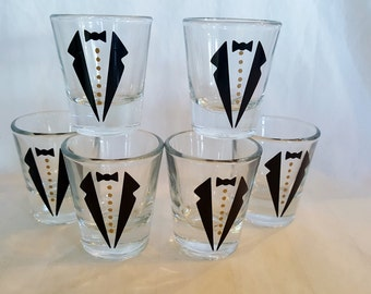 6 GROOMSMEN Tux SHOT glasses CUSTOMLIZED Wedding shot glasses  (you choose color) Groomsman Tuxedo Usher Wedding Custom Shots drinks 1.5oz