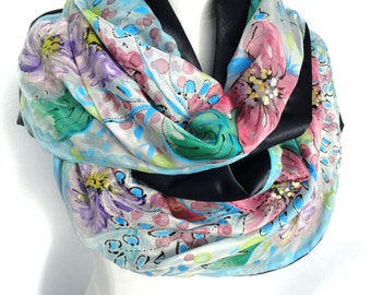 Hand Painted Silk Scarf. Luxury Heavy Shawl. Birthday Gift for Her. Double Sided Satin Back. Floral Shawl Unique Handmade 16x68in Ready2Ship