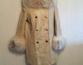 Cream Leather Vintage Coat With Soft Plush Rabbit Fur Details