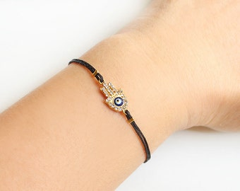 Hamsa bracelet, gold hamsa, gold evil eye, hand of fatima, black string bracelet, turkish eye, arabic, best friend gift, mother gift