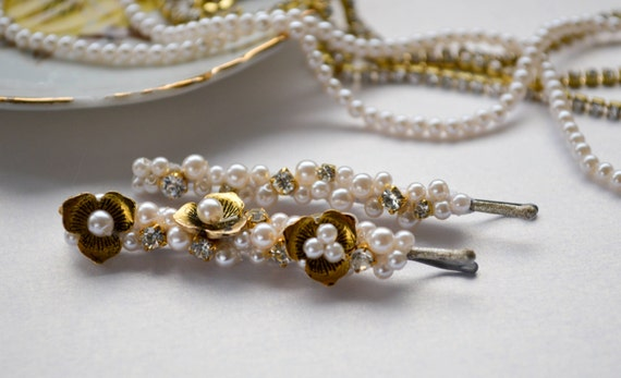 Bobby Pins - Wedding Hair Accessories - Pearls and Crystals - Floral Hair pins - Hair Jewelry-