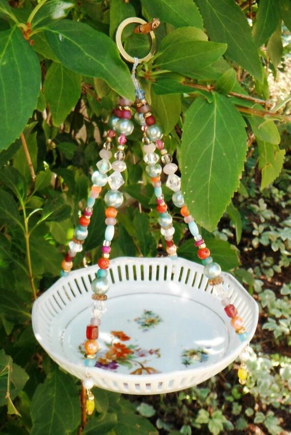 Ceramic dish bird feeder hanging garden art upcycled vintage for Garden art from old dishes