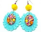Sweet lolita jewely, big candy statement earrings, large crazy colorful candy resin earrings, large blue dangle earrings, kawaii earrings