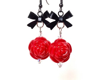 Red rose and black bow earrings - dangly rose earrings -  harajuku earrings - sweet lolita jewelry by Sparkle City Jewelry