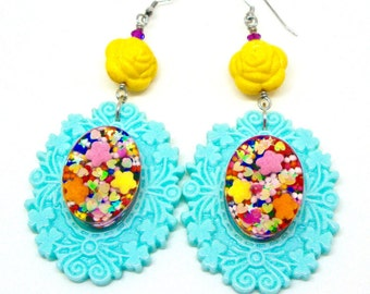 Sweet lolita jewely, big candy statement earrings, large crazy colorful candy resin earrings, large blue dangle earrings, kawaii earrings
