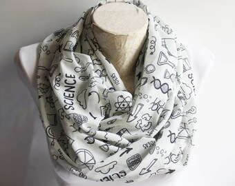 Science Infinity Scarf Chemistry Scarf Molecule Dna Print Science Teacher Geeky Gift Womens Scarves Coworker Gift Graduation Gift
