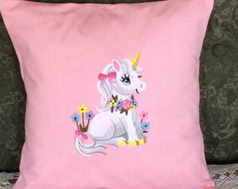 """Embroidered """"Soft and Sweet Unicorn""""  Pillow Cover - Nursery Pillow Cover - Girls Room Decor"""