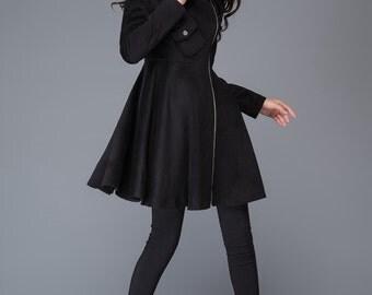 Wool jacket/Asymmetric Jacket / Long Jacket / Black Zipped Jacket  C990