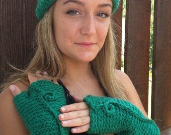 Emerald Green Headband . Turban Headband . Knot Headband . Knit Headband . Crochet Turban . Crochet Ear Warmer