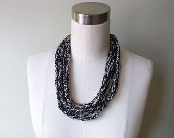 Platinum Scarf Necklace .. Black Scarf Necklace .. Valentine Gift .. Crochet Scarf Chain Scarf .. Lightweight Scarf .. Gift for Her