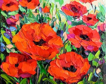 """Original Oil Painting Poppy Poppies Flower Field Art Palette Knife Impasto Textured Small Painting 8x8"""" Canvas"""