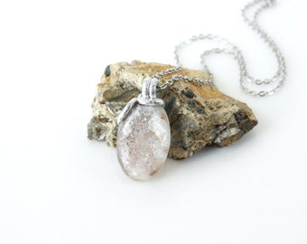 Silver Gray Druzy Quartz Necklace, Natural Crystal Stone Pendant, Geode Drusy Jewelry